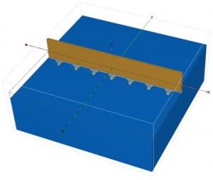 Рис. 1. Общий вид расчетной модели на этапе устройства захваток первой очереди с интервалом равным трем захваткам.